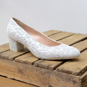 R, de Angelo Kenya Bianco Damen Pumps in silber, Vollleder, SALE!!!!!