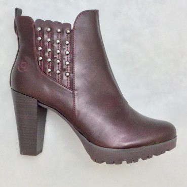 Bugatti Elenor Damen Stiefelette in bordeaux, hochwertige Lederimitation.