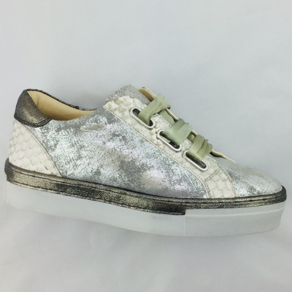 Marc Shoes 7150100753 Verena Damen Sneaker in caruso -pittone  metallicgrey, Leder.